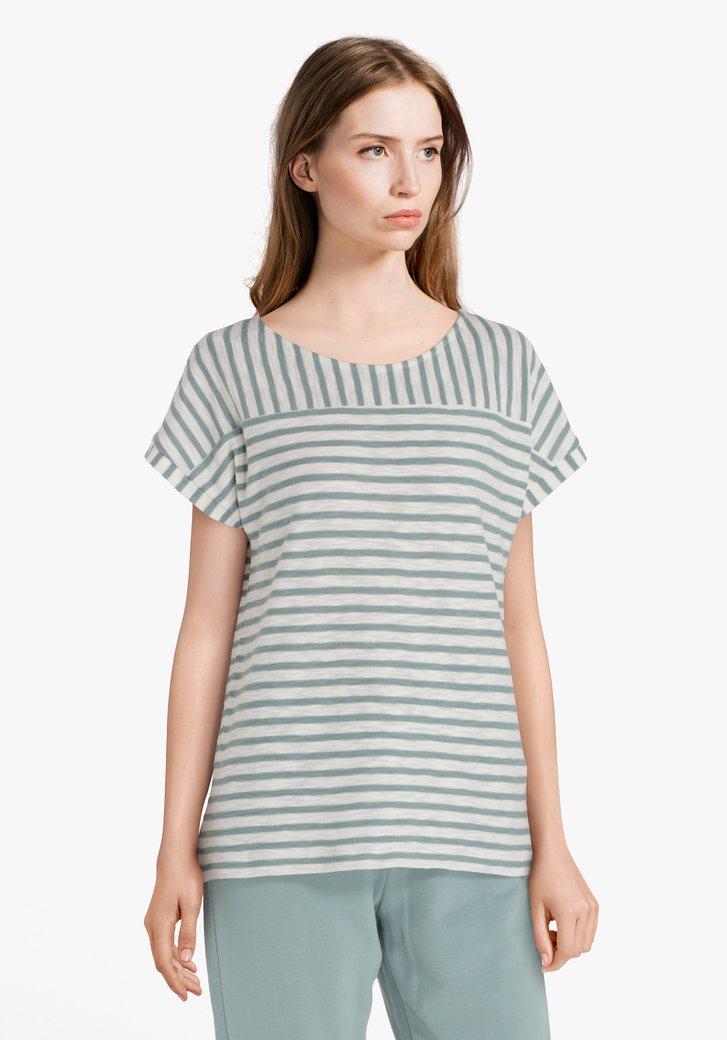 Donkergroen-ecru gestreept T-shirt