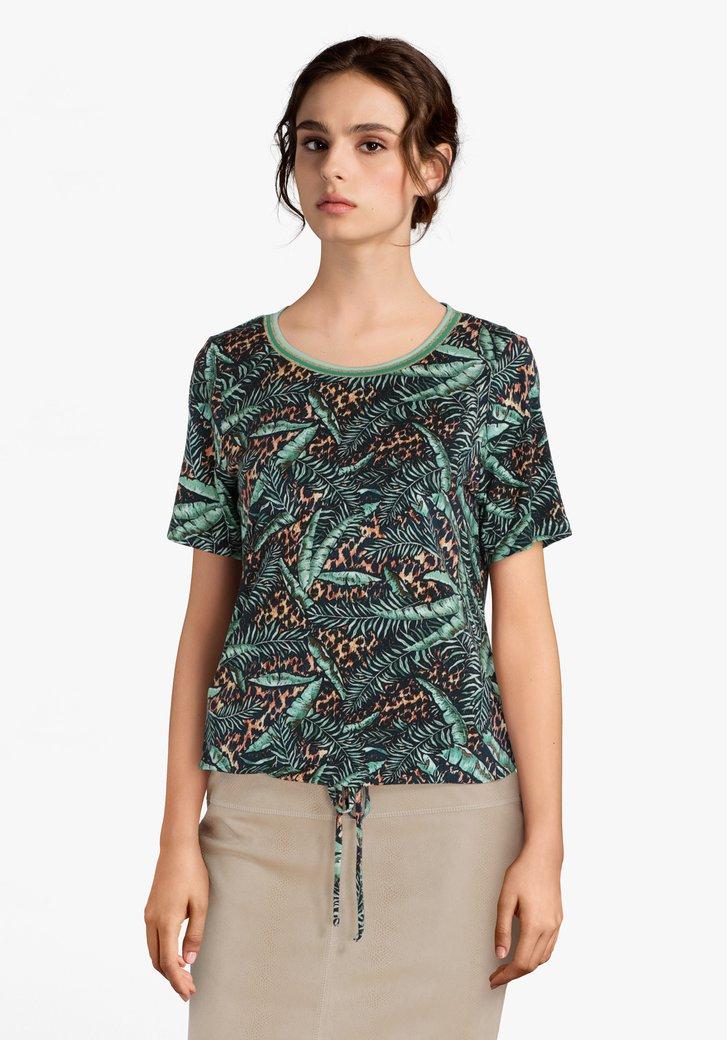 Donkergroen T-shirt met bladerprint