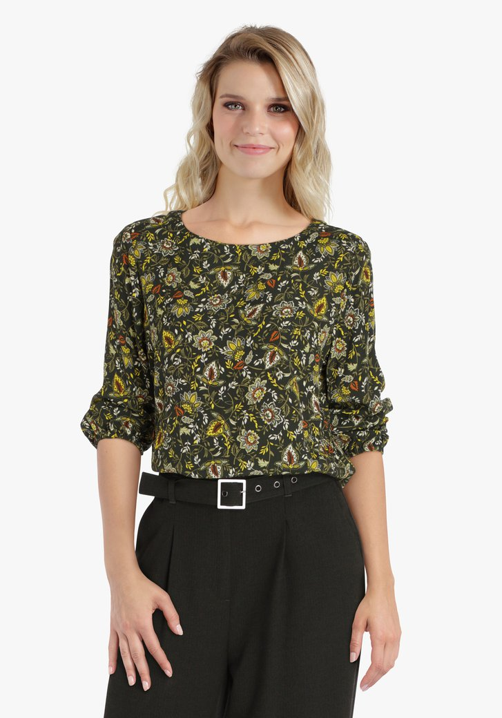 Donkergroene blouse met bloemenprint