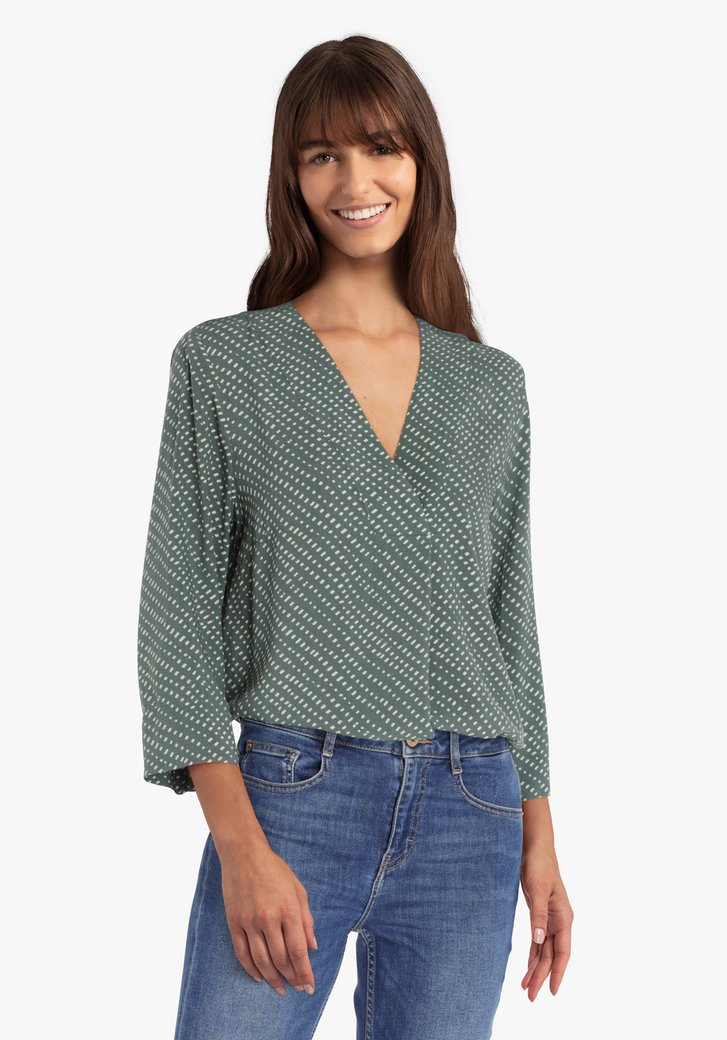 Donkergroene blouse met groene print