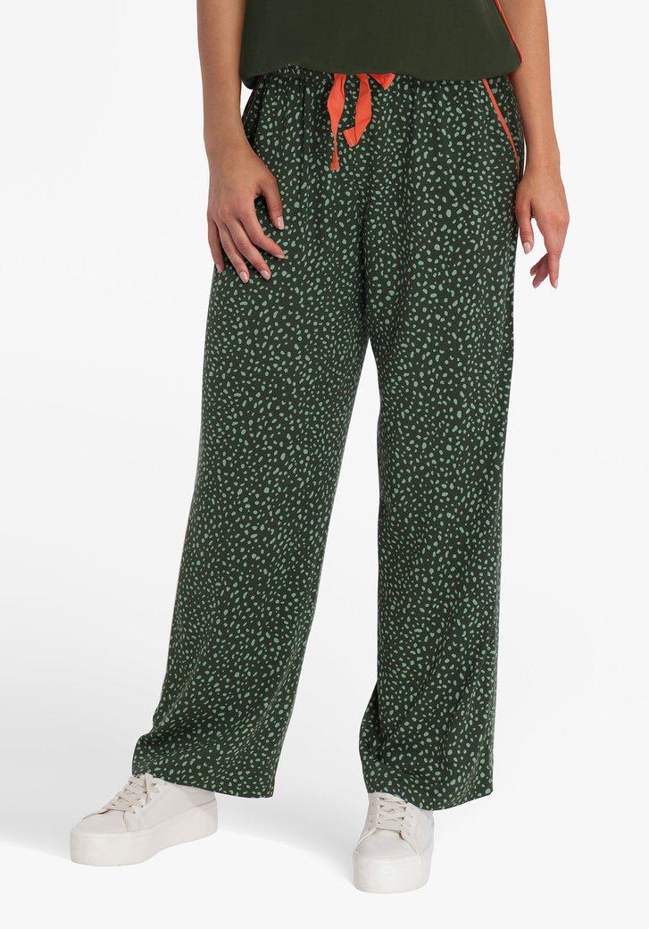 Donkergroene broek met print en elastische taille