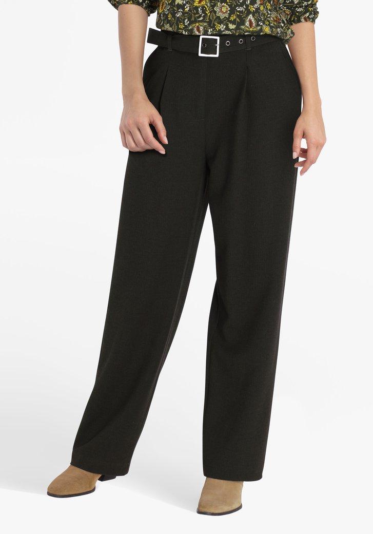 Donkergroene broek met riem - straight fit