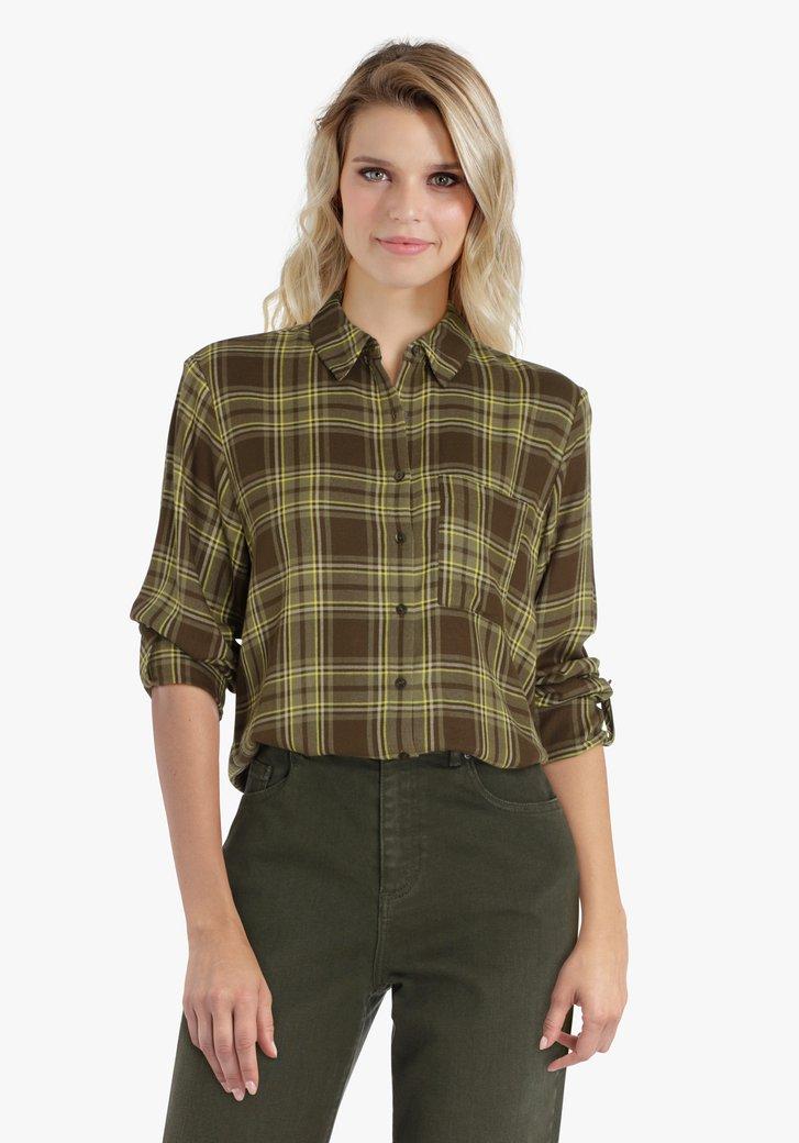 Donkergroene geruite blouse
