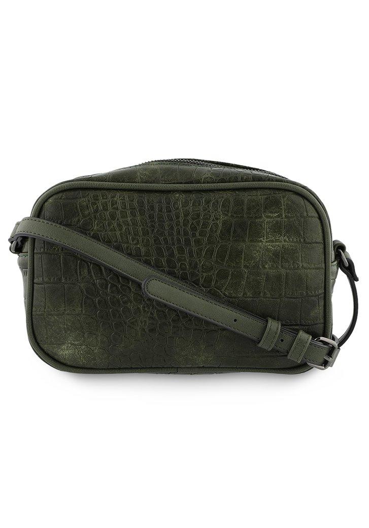 Afbeelding van Donkergroene handtas met crocoprint