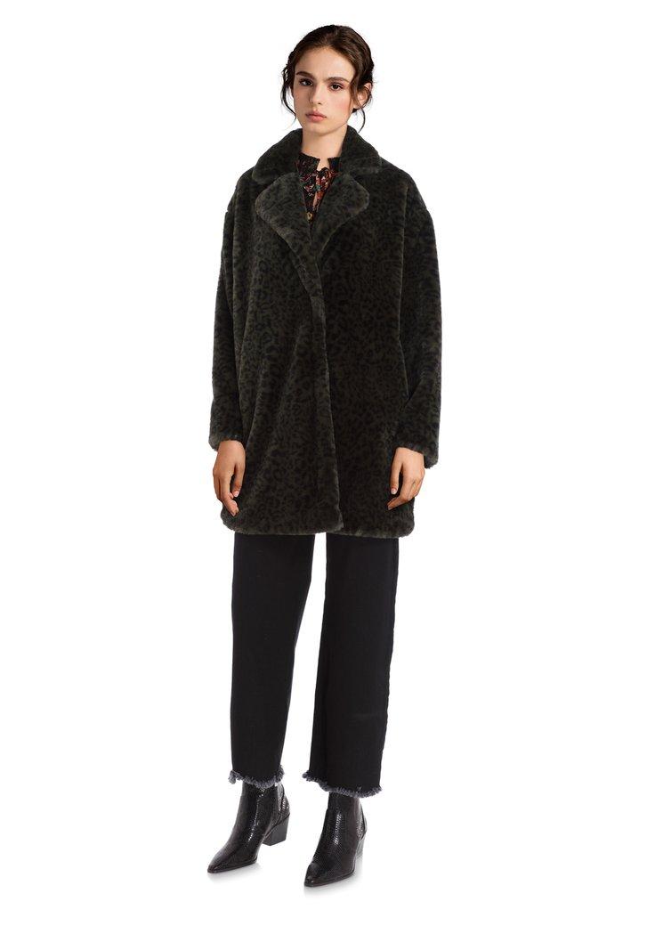 Afbeelding van Donkergroene mantel met panterprint in faux fur