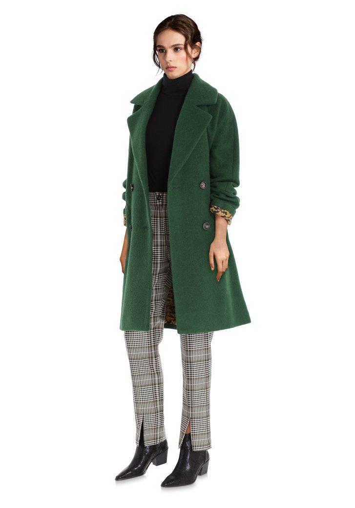 Afbeelding van Donkergroene mantel met wol