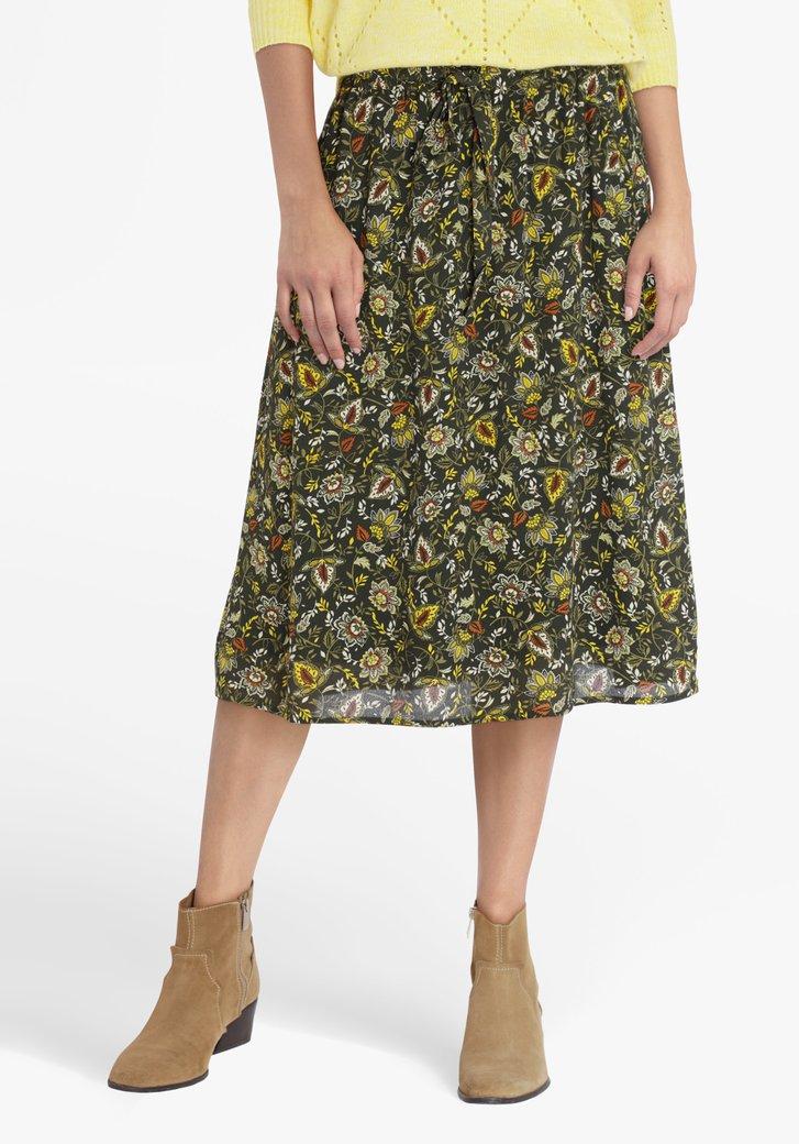 Donkergroene rok met bloemenprint
