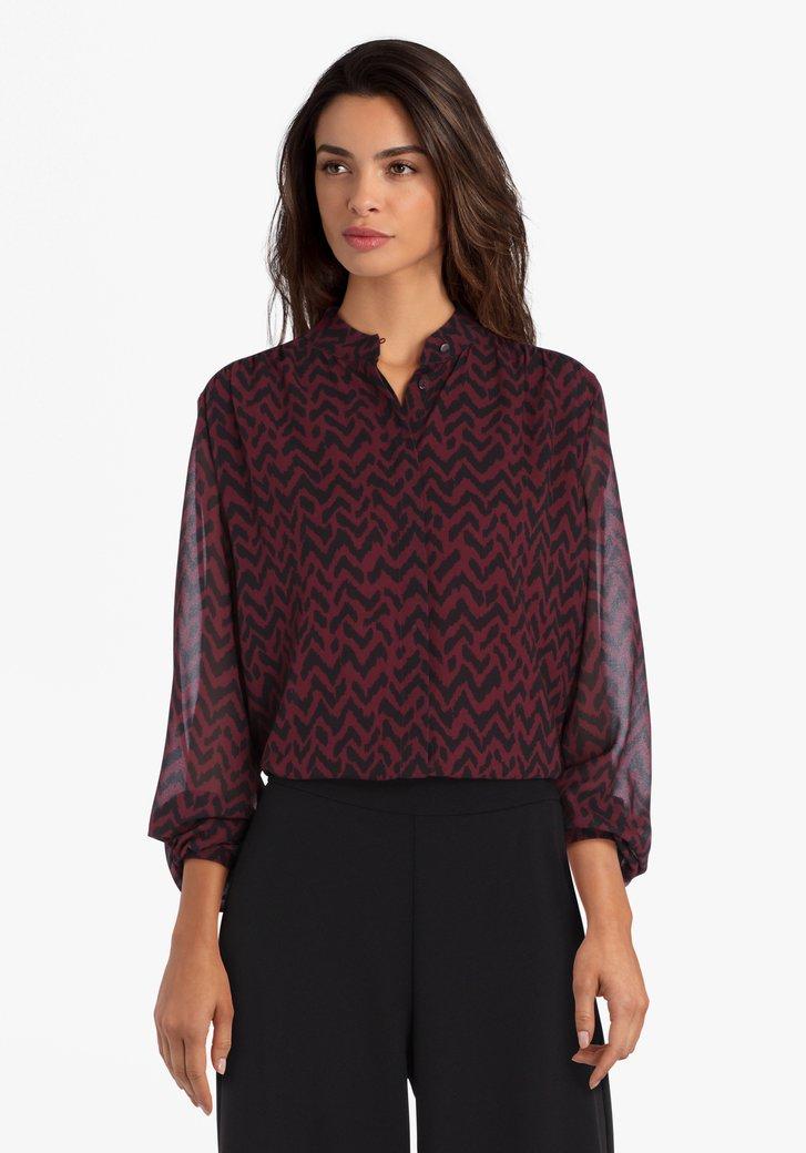 Donkerpaarse blouse met zwarte print
