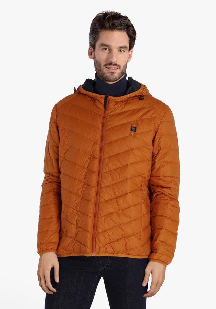 Doudoune orange-brun à capuche