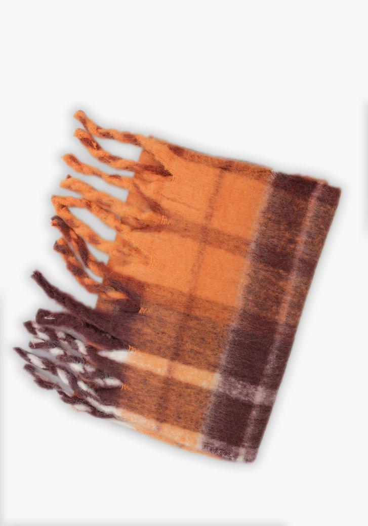 Écharpe à carreaux orange-marron