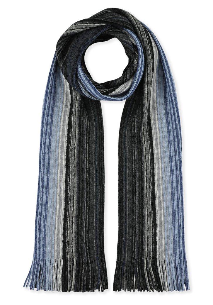 Écharpe à rayures noires et bleues