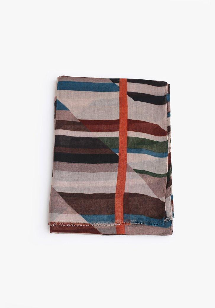 Écharpe brune à imprimé coloré