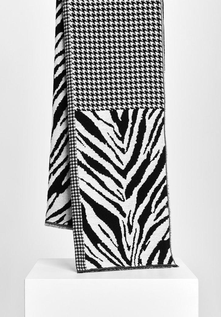 Echarpe en noir et blanc avec deux empreintes