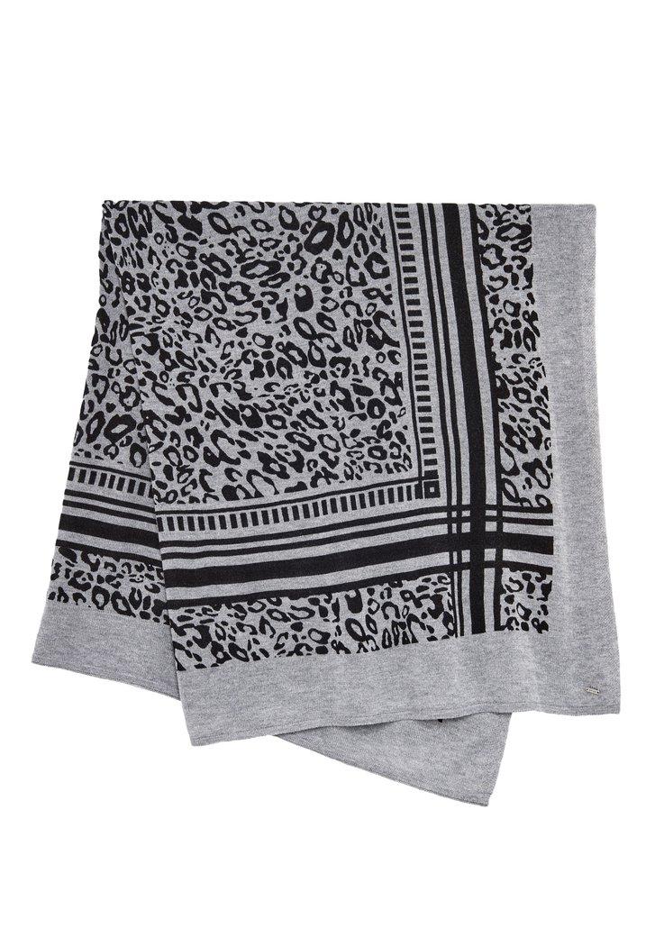 Écharpe grise avec imprimé de panthère