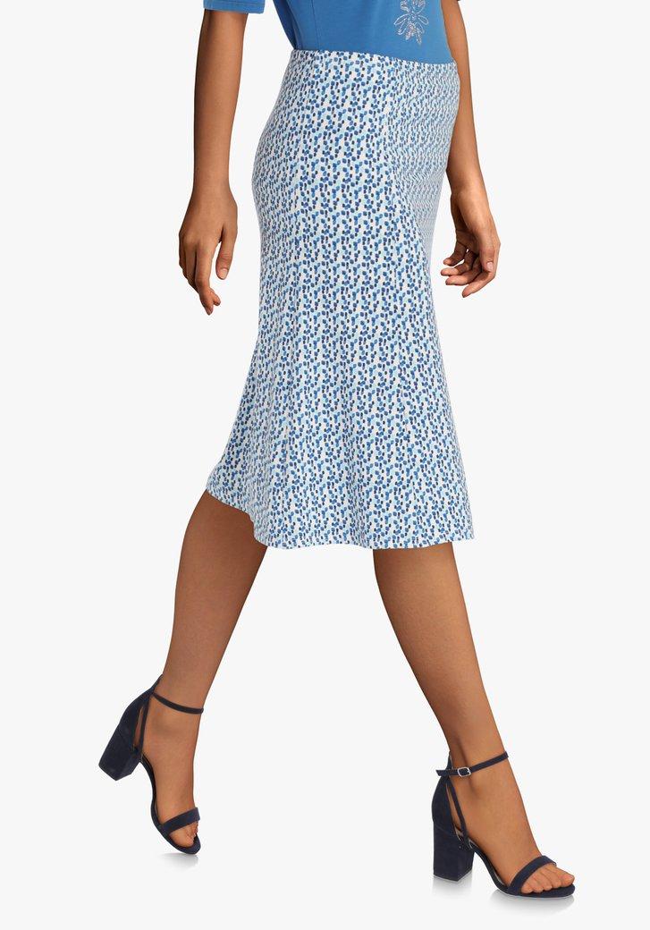 Ecru A-lijn rok met blauwe blokjes