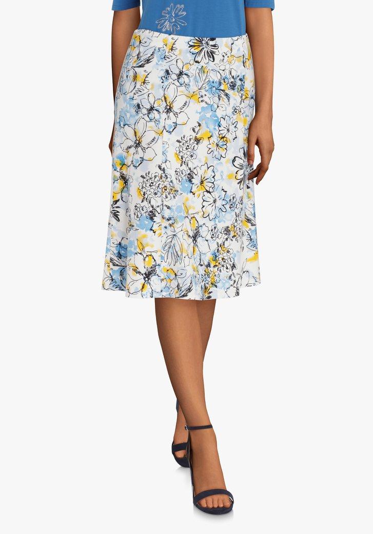 Ecru A-lijn rok met blauwe print