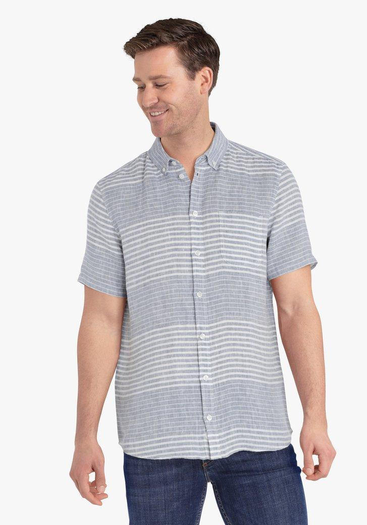 Ecru blauw gestreept hemd met korte mouwen