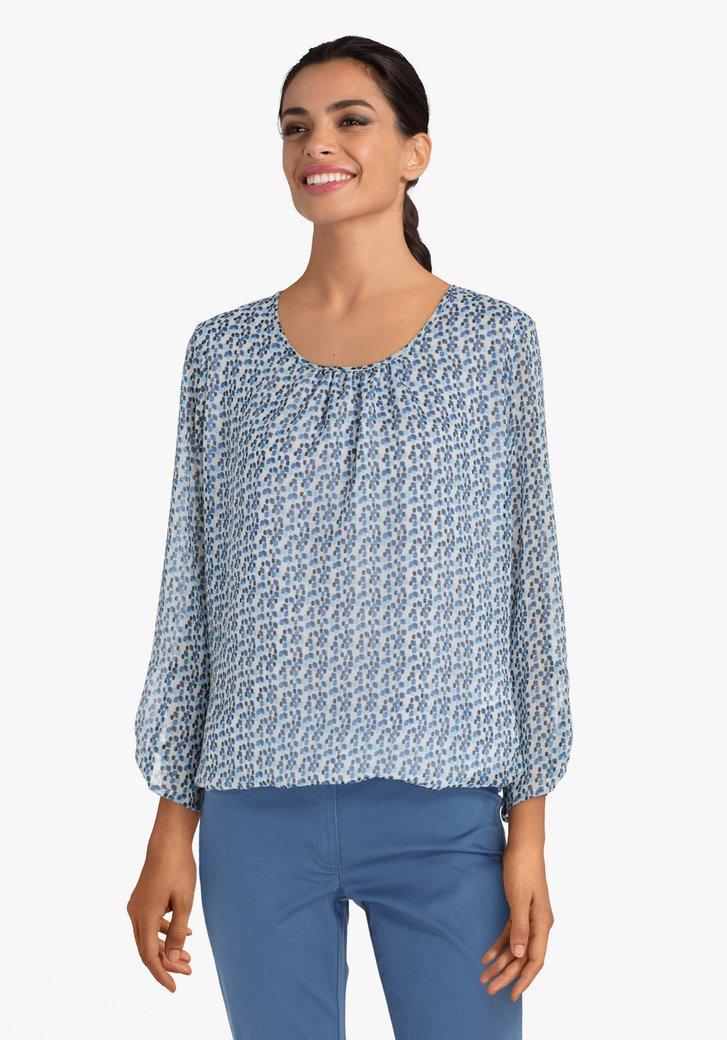 Afbeelding van Ecru blouse met blauwe blokjes