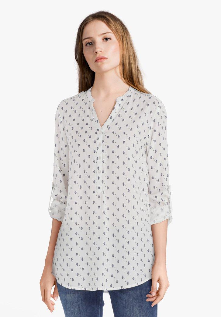 Ecru blouse met blauwe print in viscose