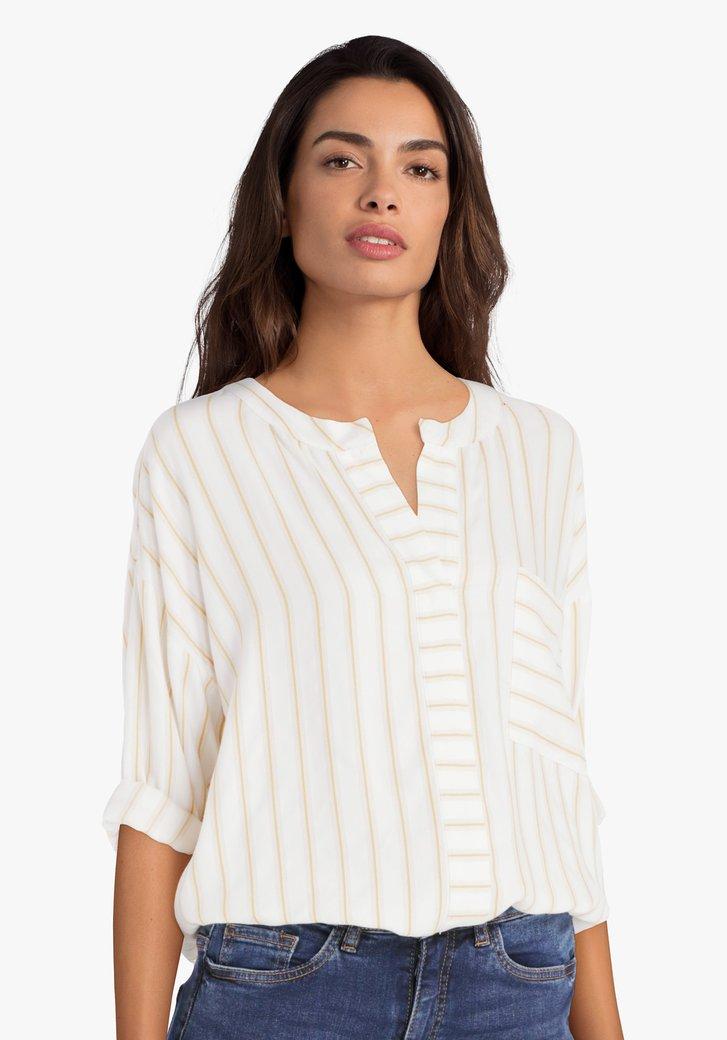 Ecru blouse met gele streepjes