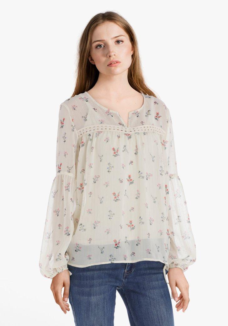 Ecru blouse met gouddraad en roze bloemen