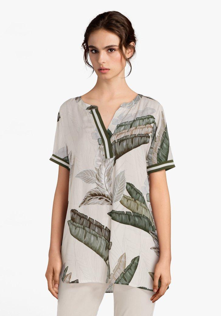 Ecru blouse met groene bladerprint in viscose