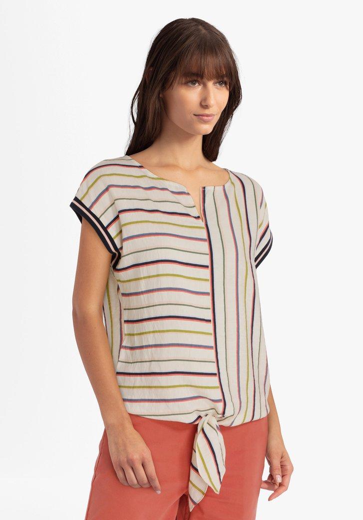 Ecru blouse met kleurrijke strepen