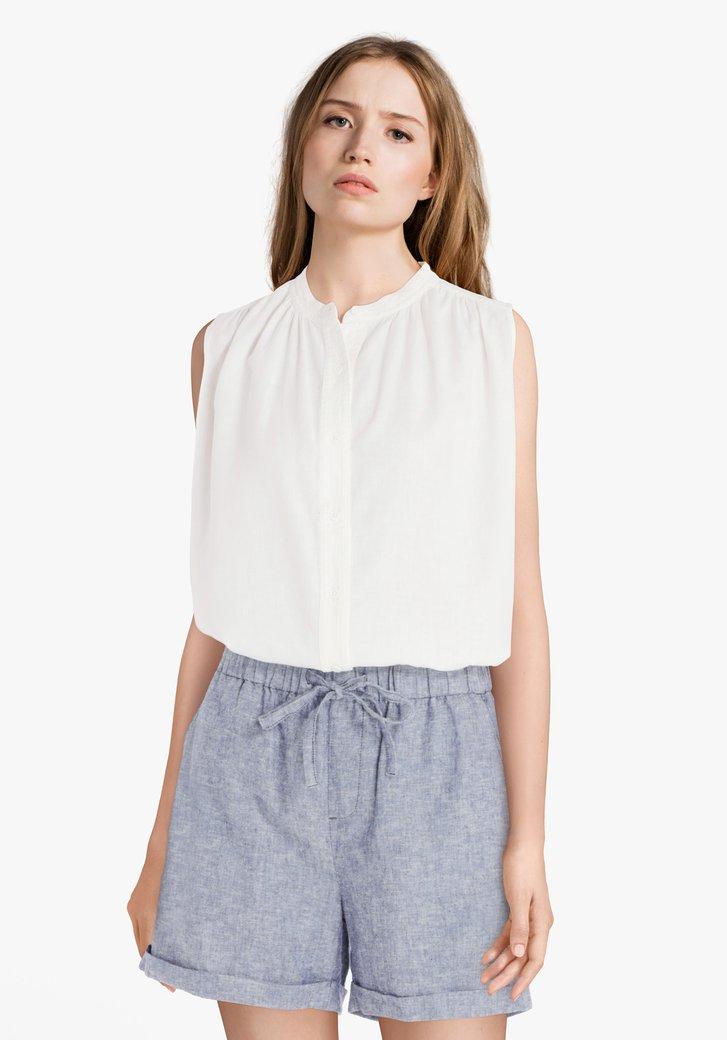 Ecru blouse met knopenlijst