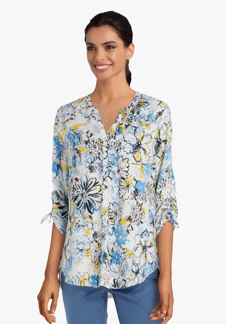 Ecru blouse met lichtblauwe print