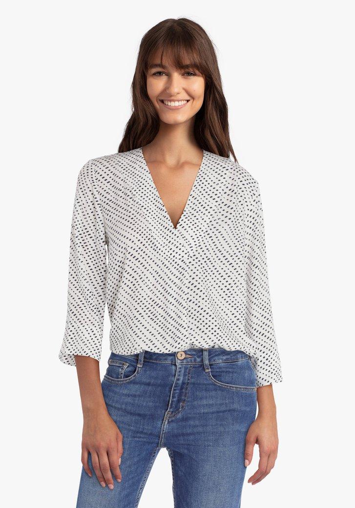 Ecru blouse met navy print