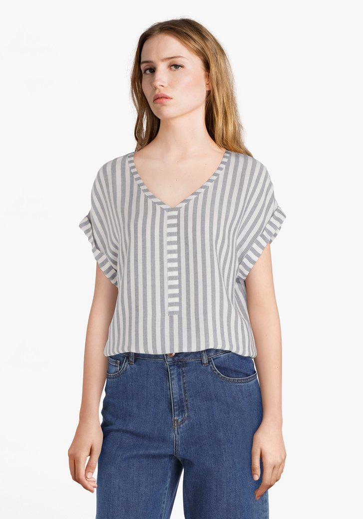 Ecru blouse met navy strepen in viscose