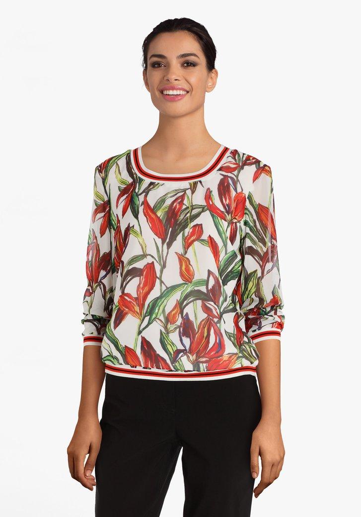 Ecru blouse met oranje bloemenprint