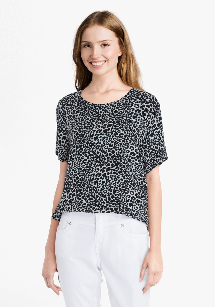Ecru blouse met panterprint