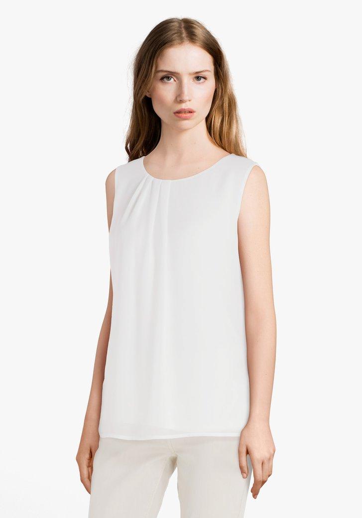 Ecru blouse met plooitjes