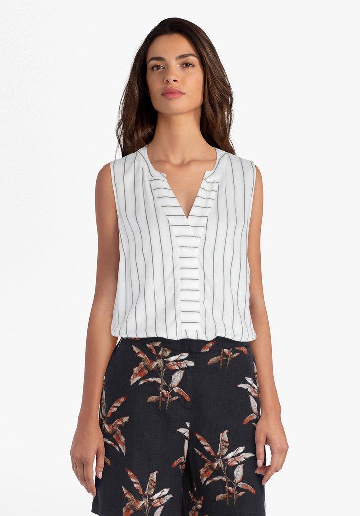 Ecru blouse met streepjes