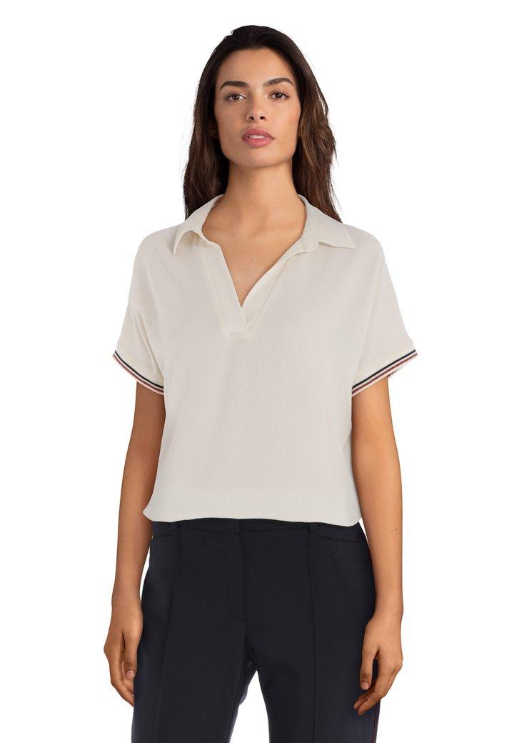 Afbeelding van Ecru blouse met voorzijde in crêpe
