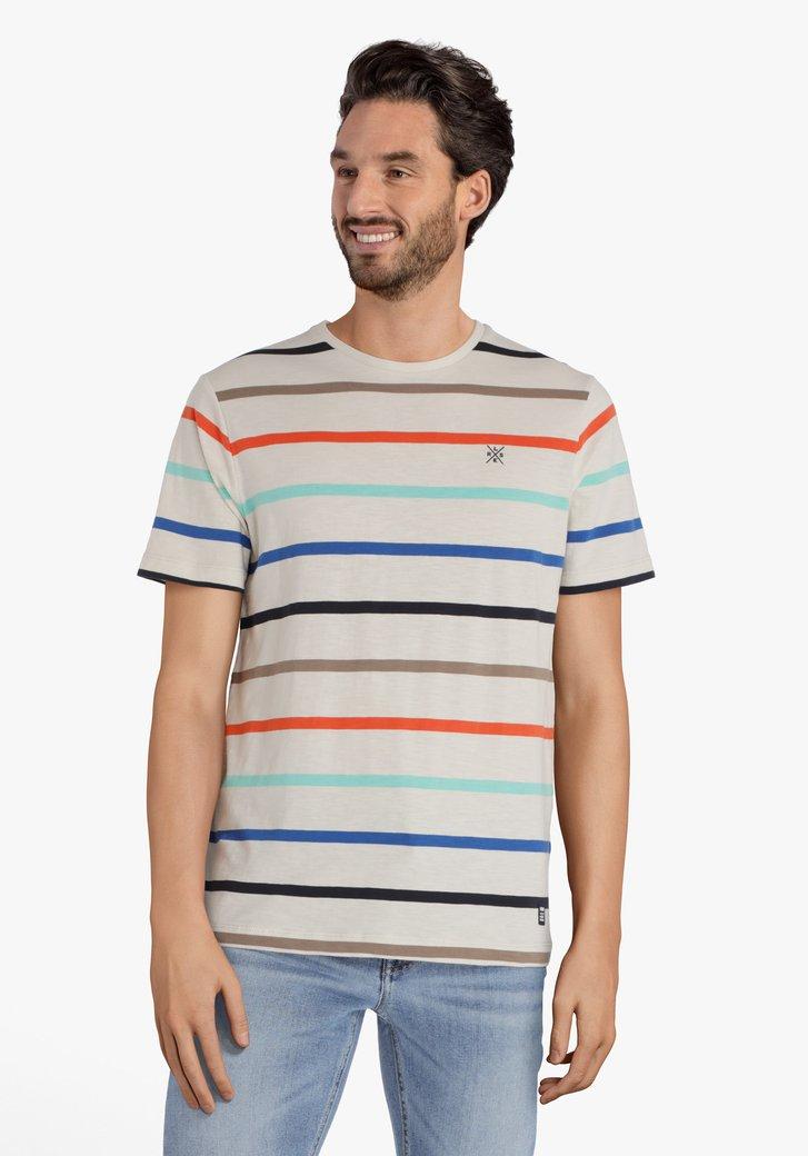 Ecru gestreept T-shirt met ronde hals