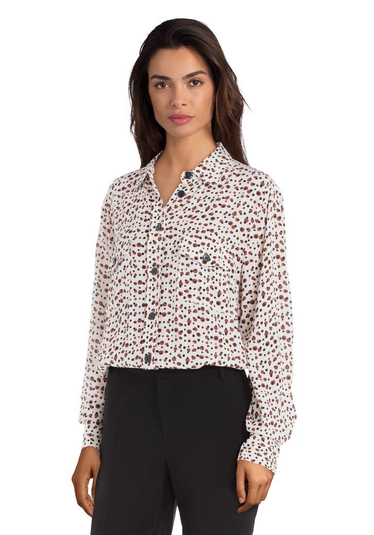 Afbeelding van Ecru hemd met bruine stippen