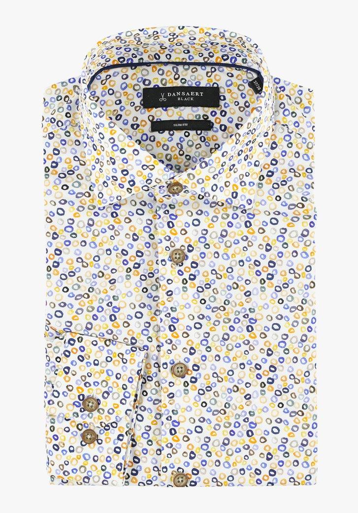 Ecru hemd met gele bolletjes - slim fit