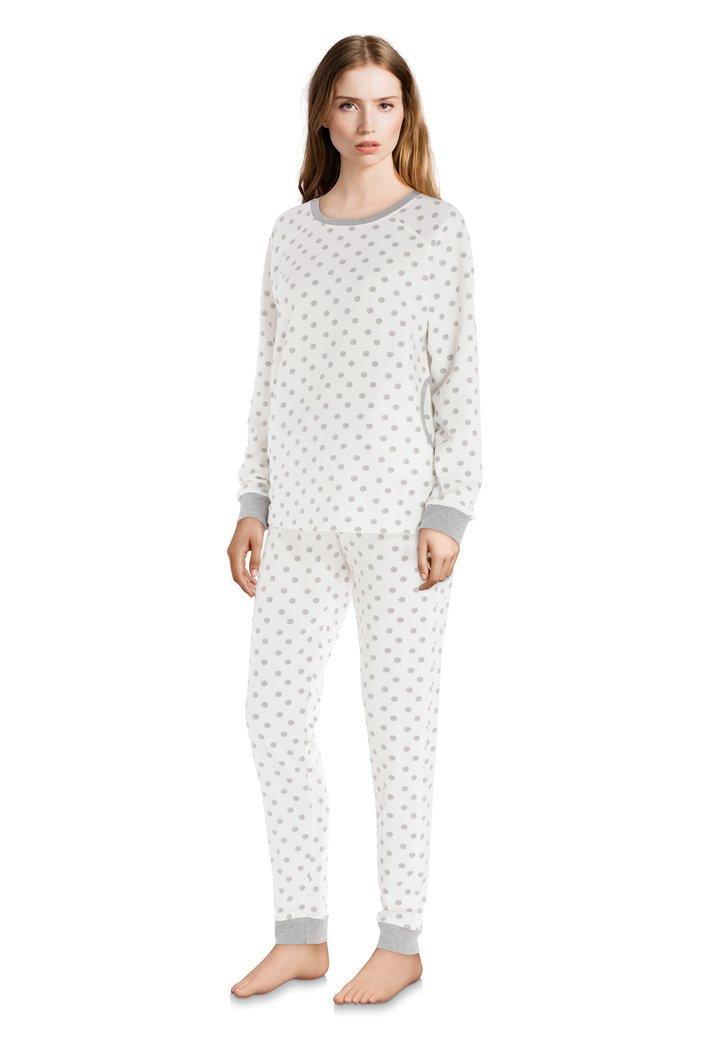 Ecru katoenen pyjama met grijze stippen