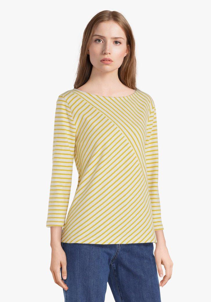 Ecru katoenen T-shirt met gele strepen