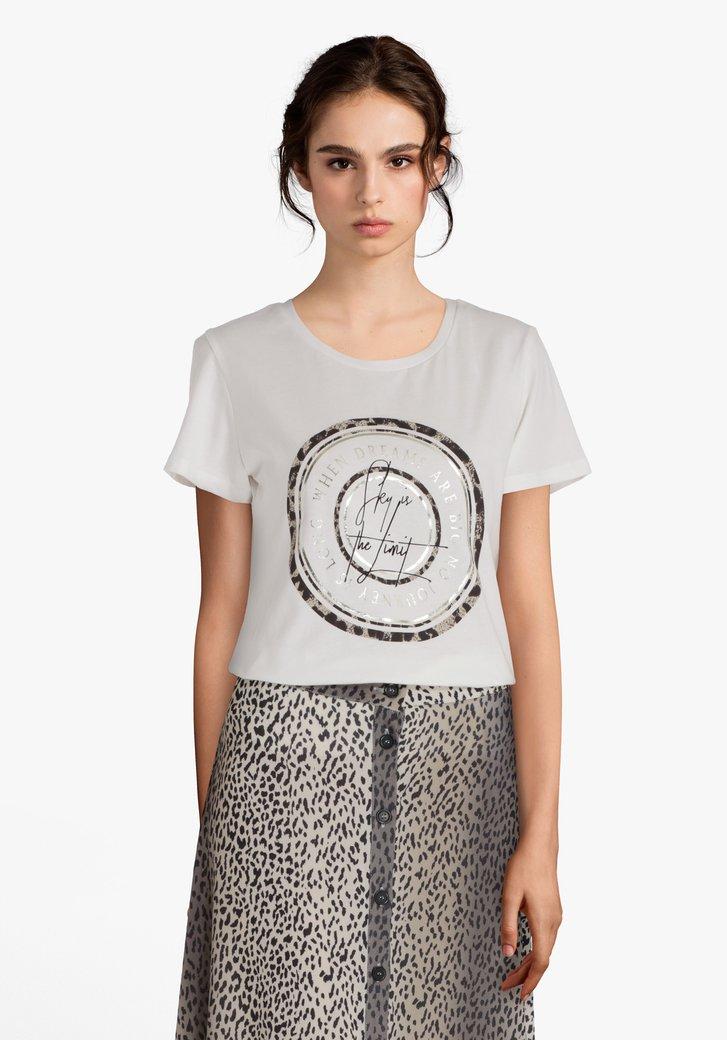Ecru katoenen T-shirt met logo