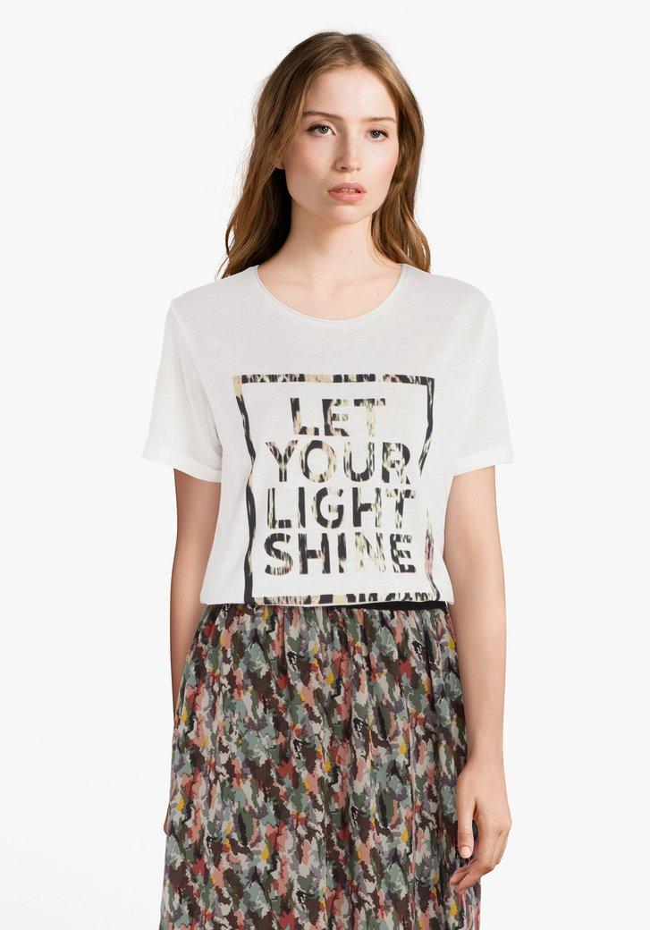 Afbeelding van Ecru katoenen T-shirt met print