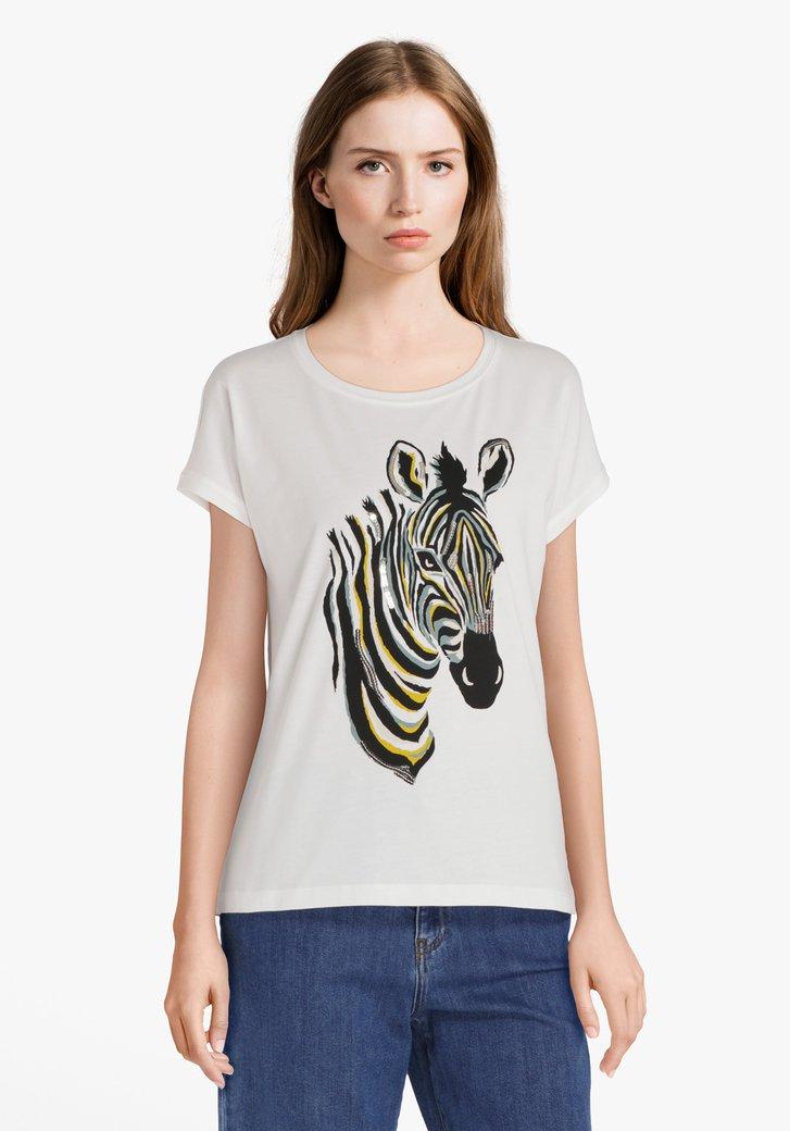 Ecru katoenen T-shirt met zebraprint