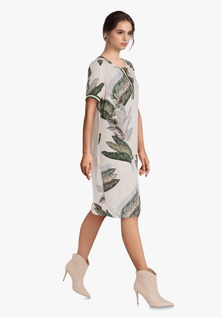 Ecru kleed met groene bladerprint in viscose