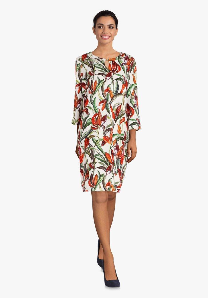 Ecru kleed met oranje bloemenprint