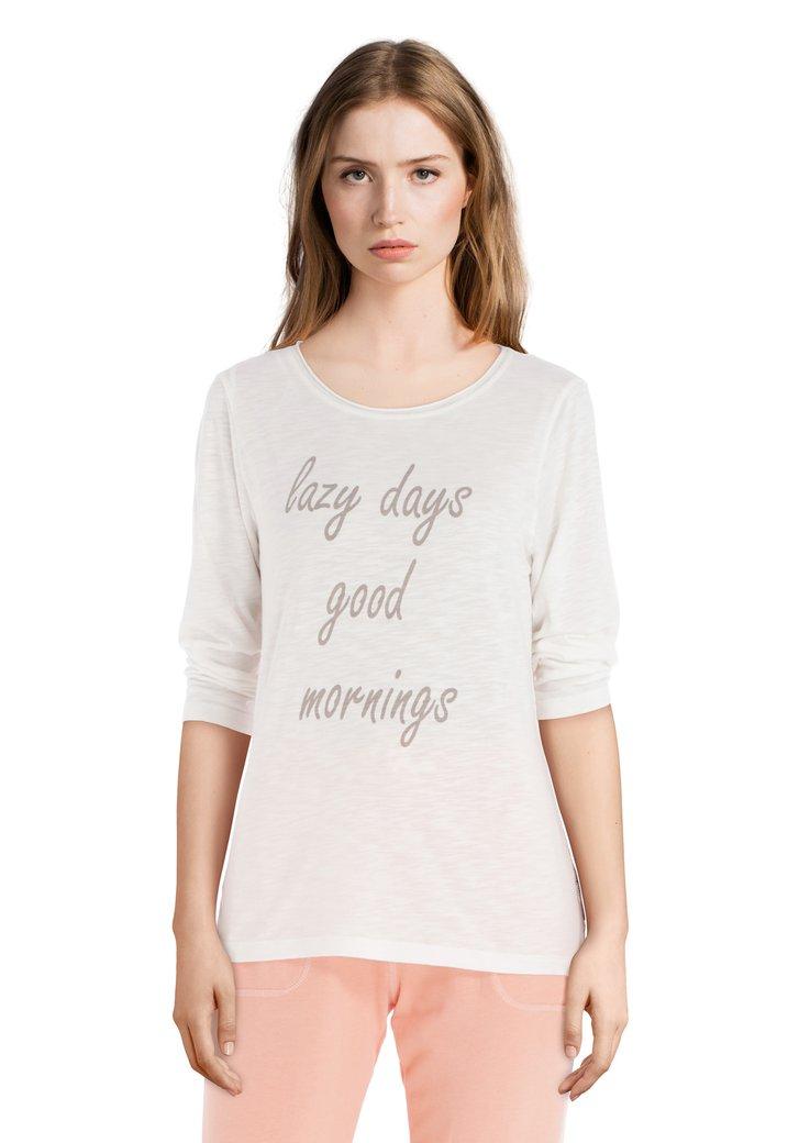 Afbeelding van Ecru 'lazy days' T-shirt met ronde hals