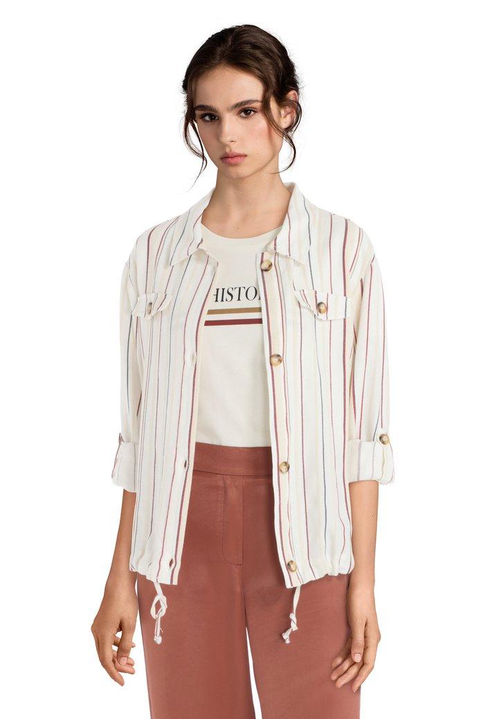 6af8a43c72d693 Ecru linnen blouse met strepen