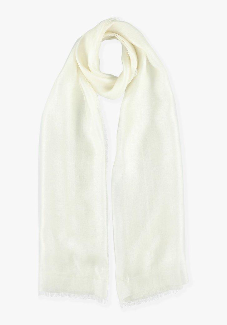 Ecru sjaal met zijde