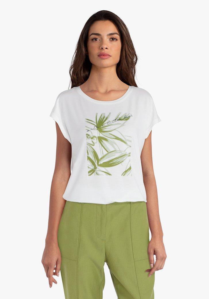 Ecru T-shirt groene print